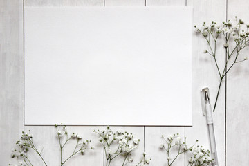 Mockup for presentations with Gypsophila flowers