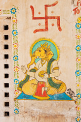 Wall art  dedicated to the Hindu elephant god Ganesh