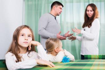 Parents and children after quarrel