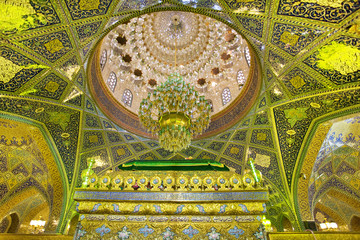 Syria. Damascus. The decoration of the Sayyida Ruqayya Mosque (mausoleum) in the modern Persian style