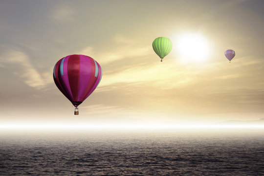 Colorful hot air balloon high in the sky