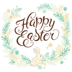vector hand drawn easter lettering greeting quote with rabbit circled composition surround with floral branches