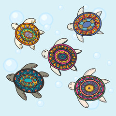 Hand drawn vector colorful doodle turtle with oriental ornament.