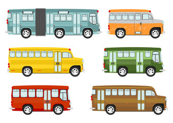 Cartoon buses on the white background. Vector.
