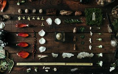 Natural ingredients preparation on old wooden desk
