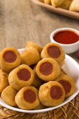 Sausage fried snacks. Brazilian snacks .