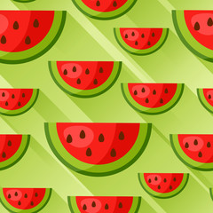 Seamless pattern with watermelon slices in flat style. Background made without clipping mask. Easy to use for backdrop, textile, wrapping paper