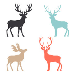 Silhouette deer with great antler animal vector illustration.