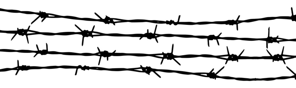 Barbed wire seamless background. Vector fence illustration