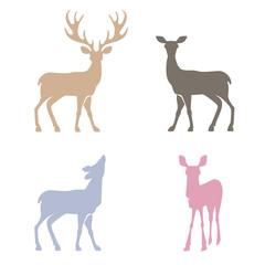 Deer silhouettes set.