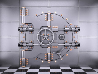 Vault safe bank door in banking room 3d