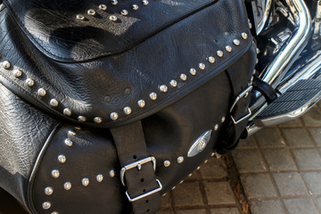motorcycle bag made in black leather