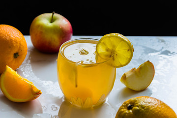 Fresh fruit juice with ice. Fruits, Apple, oranges,lemon