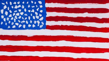 Нарисованный разноцветными водными красками флаг США