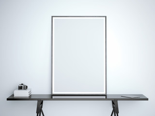 White blank frame on black table . 3d rendering