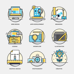 Modern flat color line designed concepts icons