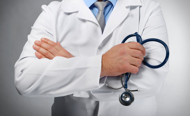 Doctor with stethoscope, close-up