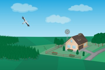 A beautiful rural landscape, vector background. Meadow and forest, flying stork, cosy house with a windmill.