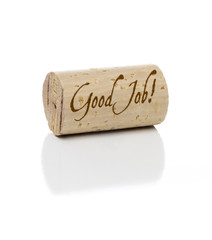 Good Job Branded Wine Cork on White