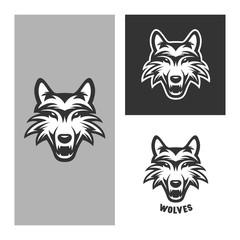 Wolf mascot for sport teams. Vintage vector illustration.
