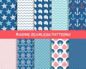 Sea and marine seamless patterns