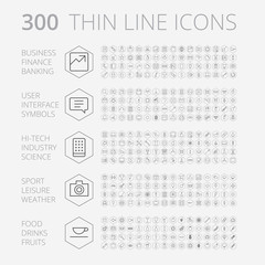 Thin Line Icons For Business, Technology and Leisure