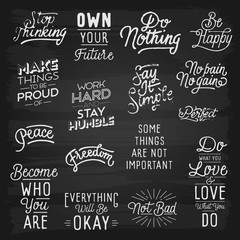 Hand drawn lettering slogans