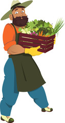 Farmer, gardener or greengrocer carrying a crate filled with fruits and vegetables, isolated on white, EPS 8 vector cartoon, no transparencies