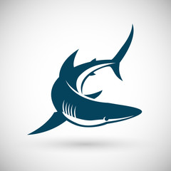 Shark sign rotate isolated vector illustration