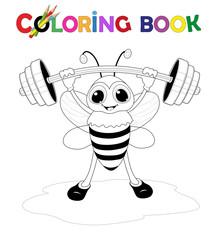 Biene als Gewichtheber Starke Biene trägt mehr als sie wiegt, Vektor Illustration isoliert auf weiß