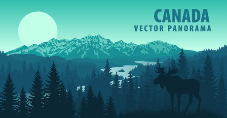 Wall Murals Green blue vector panorama of Canada with forest and Moose