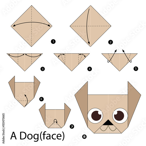 Step By Step Instructions How To Make Origami Dog Stock Image And