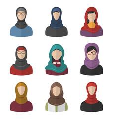 Set Arabic Women Flat Icons