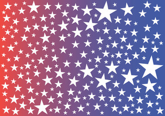 Vector illustration. Stars on red-blue background.