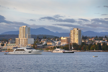 Nanaimo Morning, Water View, British Columbia. Waterfront condominiums overlook the harbor and marina in Downtown Nanaimo, British Columbia, Canada.