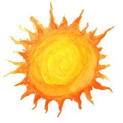 Sun in watercolor