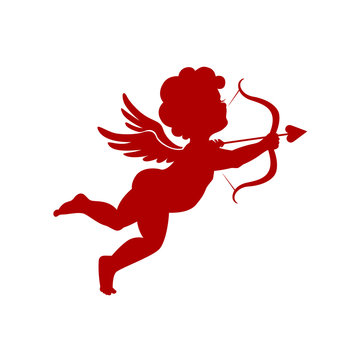 Cupid silhouette vector illustration