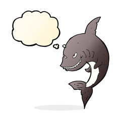 funny cartoon shark with thought bubble