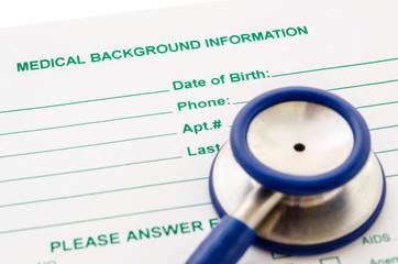Medical background informantion form.