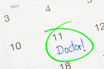 The words Doctor written on a Calendar.