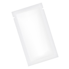 VECTOR PACKAGING: White gray rectangle sachet foil packet on isolated white background. Mock-up template ready for design