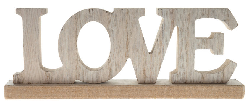 Love / Wooden letters with the word love isolated over a white background