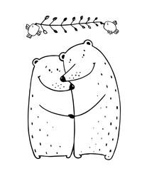 Bears Love Couple Embrace Outline