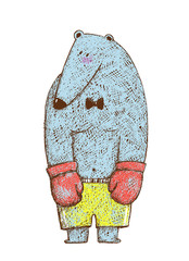Bear Boxer Pencil Hand Drawn Colored Cartoon