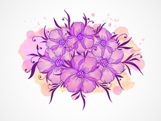 Vector illustration with hand drawn  flowers, leaves and branches.