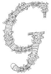 Decorative zentangle letter