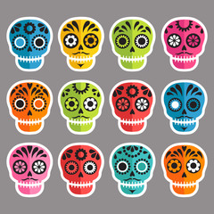 colorful patterned skull set, Mexican day of the dead stickers