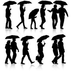 Black silhouettes man and woman under umbrella. Vector illustrat