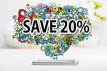 Save 20 percent text with smartphone