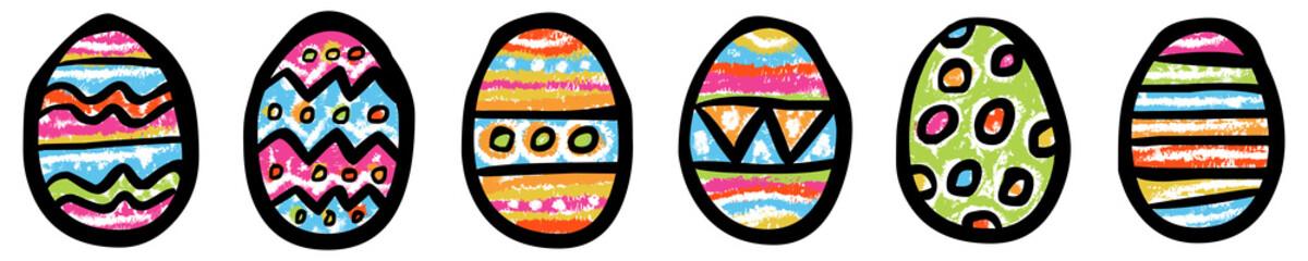 Set: 6 bunt gemusterte Eier / Kreidezeichnung, Vektor, freigestellt